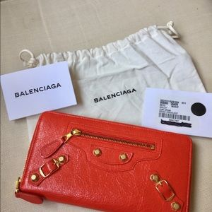 New Balenciaga Red Silver Zip Around Wallet